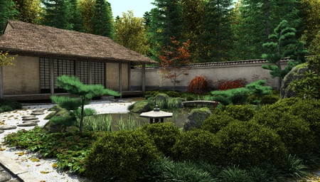Japanese traditional tea house and garden with koi pond, 3d digitally rendered illustration illustration