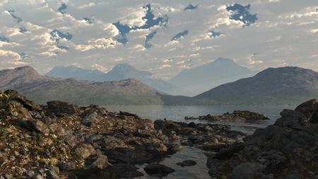 loch: Rocky shore of a Scottish loch, 3d digitally rendered illustration