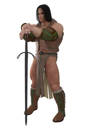 Illustration of a muscular fantasy style barbarian warrior leaning on his sword, 3d digitally rendered illustration Stock Photo