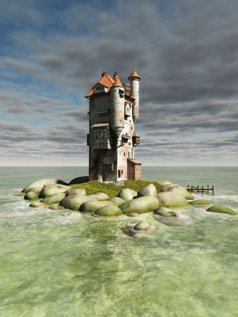 Mediaeval or fantasy tower on a small rocky island in the ocean, 3d digitally rendered illustration illustration
