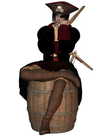 eyepatch: Illustration of a Pirate Captain with pistols, hat with skull and cross bones and eyepatch, sitting on a barrel, 3d digitally rendered illustration Stock Photo