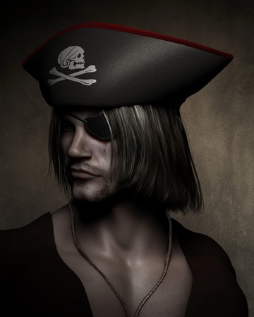 skull and cross bones: Three quarter dark atmospheric portrait illustration of a pirate captain with hat with skull and cross bones and eyepatch, 3d digitally rendered illustration