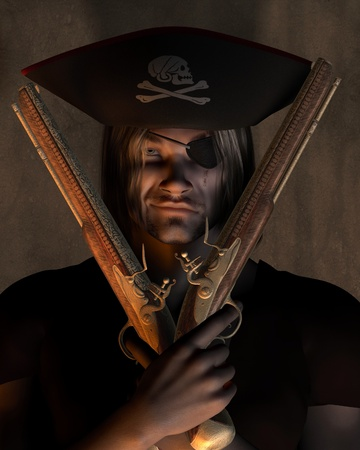Dark atmospheric portrait illustration of a pirate captain with hat with skull and cross bones and eyepatch holding pistols, 3d digitally rendered illustration illustration