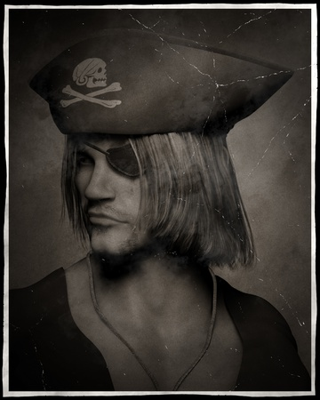 stubble: Antique effect three quarter dark atmospheric portrait illustration of a pirate captain with hat with skull and cross bones and eyepatch, 3d digitally rendered illustration Stock Photo