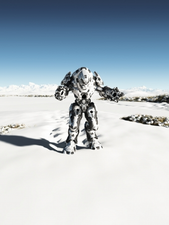 hi fi: Futuristic science fiction battle droid on patrol on a snow covered winter planet, 3d digitally rendered illustration