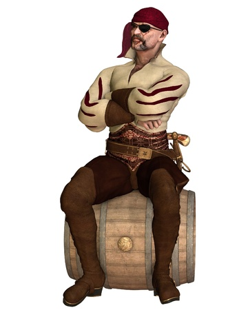 gun barrel: Illustration of an old pirate with bandana and eyepatch, sitting on a barrel, 3d digitally rendered illustration