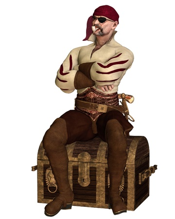 Illustration of an old pirate with bandana, eyepatch and pipe, sitting on a treasure chest, 3d digitally rendered illustration