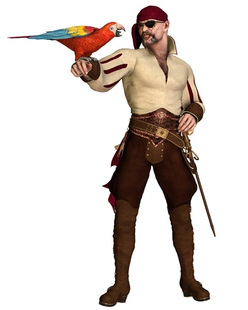 dangerous man: Illustration of an old pirate with eye patch and bandana holding a scarlet macaw, 3d digitally rendered illustration Stock Photo