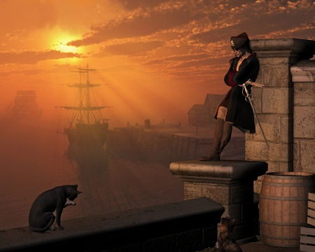 Illustratie van een kapitein Pirate wachten in de haven bij zonsondergang, 3d digitaal teruggegeven illustratie