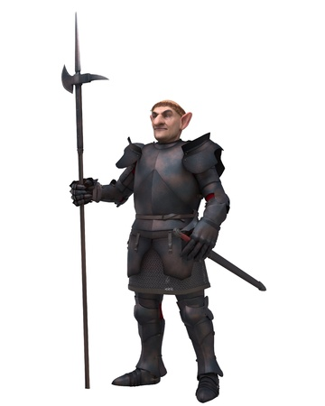 Fantasy gnome character in medieval armour carrying a halberd, 3d digitally rendered illustration