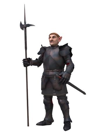 Fantasie gnome personage in middeleeuwse harnassen dragen van een hellebaard, 3d digitaal teruggegeven illustratie Stockfoto