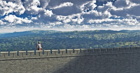 hill distant: Illustration of a Roman sentry standing guard on Hadrian s Wall the Northern frontier of the Empire in the British Isles, 3d digitally rendered illustration