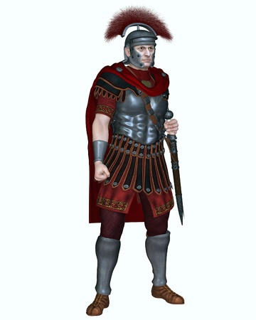 Illustratie van een Centurion van de keizerlijke Romeinse legionairs leger dragen van een dwarse kuif helm en uitvoering van een gladius of kort zwaard, 3d digitaal teruggegeven illustratie Stockfoto