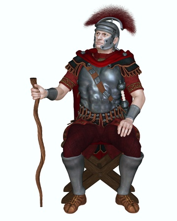 Illustration of a Centurion of the Imperial Roman legionary army wearing a transverse crested helmet and sitting on a folding camp stool holding his vine staff as badge of office, 3d digitally rendered illustration illustration