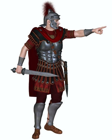Illustration of a Centurion of the Imperial Roman legionary army wearing a transverse crested helmet and carrying a gladius or short sword ordering troops to attack, 3d digitally rendered illustration