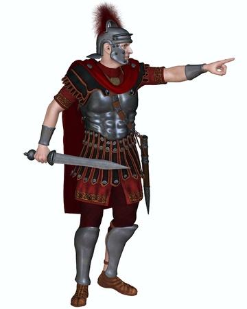 cascos romanos: Ilustración de un centurión del ejército imperial romano legionario que llevaba un casco con cresta transversal y con un gladius o espada corta ordenar a las tropas para atacar, 3d rindió la ilustración digital