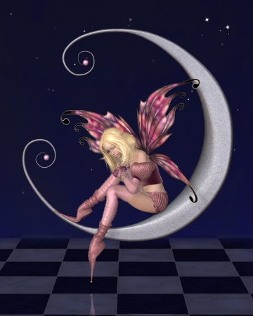 pixie: Fairy dressed in pink sitting on a silver moon with a nighttime background covered in sparkling stars, 3d digitally rendered illustration