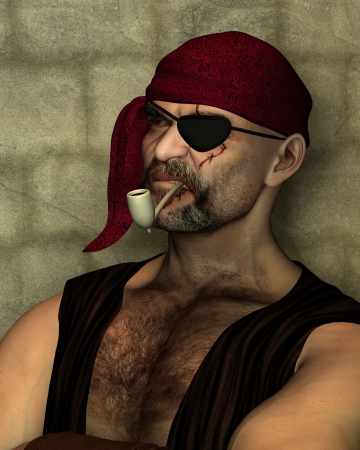 eyepatch: Portrait illustration of an old pirate with an eyepatch leaning against a wall and smoking a clay pipe, 3d digitally rendered illustration Stock Photo