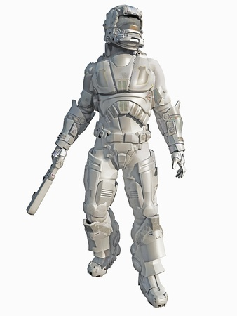 Illustration of a Space Marine in winter camouflage, 3d digitally rendered illustration Stock Photo