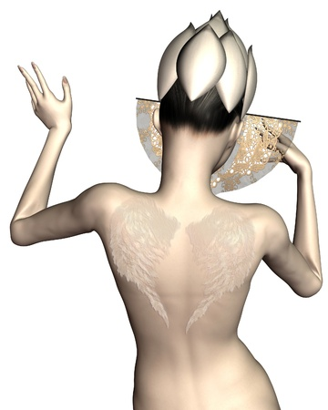 Illistration of a Geisha-style woman decorated with angel wings tattoos viewed from the back, 3d digitally rendered illustration illustration