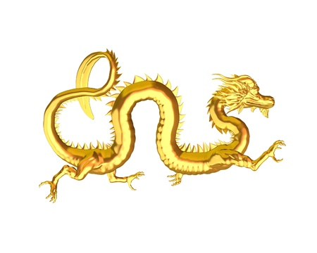 spines: Illustration of a Chinese Golden Dragon statue, symbol of good luck, 3d digitally rendered illustration