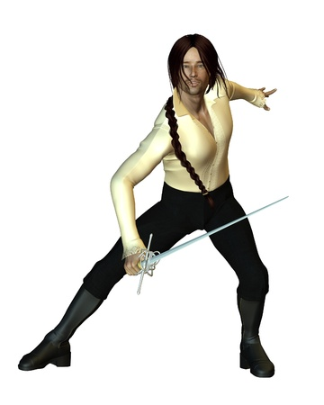 plait: Illustration of a Swordsman fencing with a rapier, 3d digitally rendered illustration