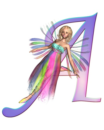 Upper case letter A from a fairy alphabet, decorated with pretty fairy, 3D digitally rendered illustration