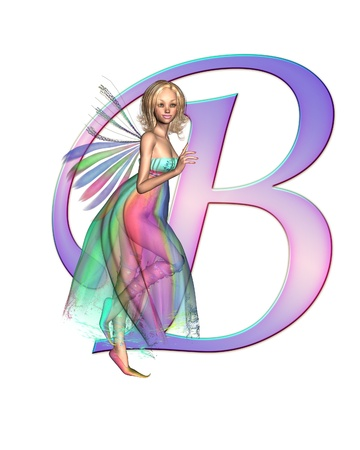 faerie: Upper case letter B from a fairy alphabet, decorated with pretty fairy, 3D digitally rendered illustration