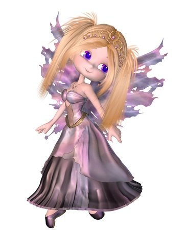 Cute toon fairy princess with purple dress and wings and gold tiara, 3d digitally rendered illustration