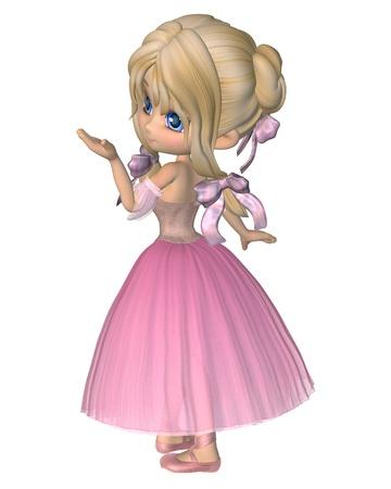 로맨틱 발레 스타일의 긴 치마와 분홍색 발레 용 스커트를 입고 귀여운 툰 발레리나, 디지털 그림 렌더링 된 3D 스톡 콘텐츠