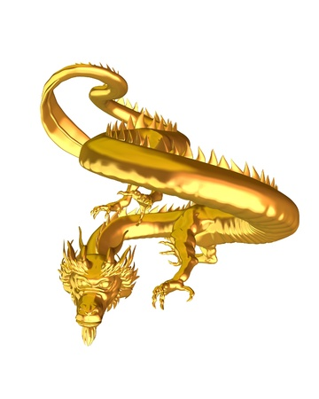 Illustration of a Chinese Golden Dragon statue, symbol of good luck, 3d digitally rendered illustration