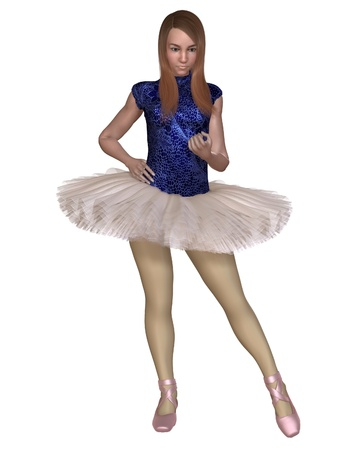 Illustration of a young ballerina wearing a practice tutu waiting for rehearsals to start, 3d digitally rendered illustration illustration