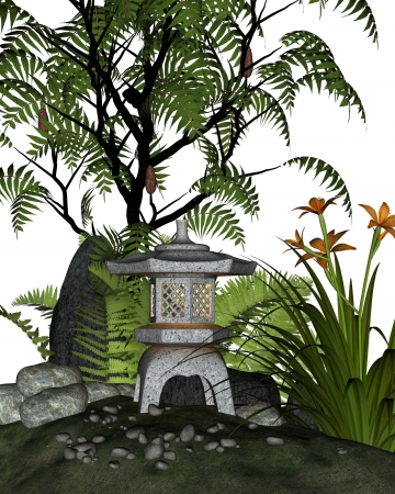 moss: Japanese styled tea garden corner with stone lantern  toro  and plants including ferns, sumac tree and day lilies, 3d digitally rendered illustration