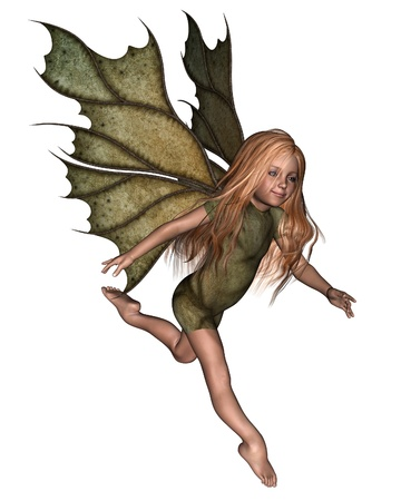 fey: Illustration of a young fairy girl child with green leafy wings and costume, 3d digitally rendered illustration