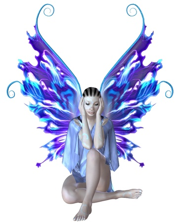 3d weird: Illustration of a strange fairy with mystic skin markings, in a blue dress with blue and purple wings, 3d digitally rendered illustration