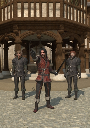 timbered: Illustration of guards on the streets of a Medieval town, 3d digitally rendered illustration Stock Photo