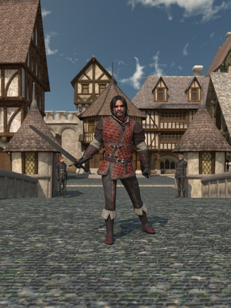timbered: Illustration of an old and scarred guardsman standing on the bridge leading to a Medieval or fantasy town, 3d digitally rendered illustration