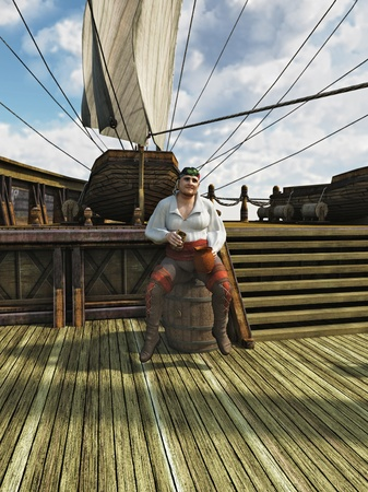 Illustration of a pirate sitting on a barrel drinking grog on board the deck of a sailing ship, 3d digitally rendered illustration illustration