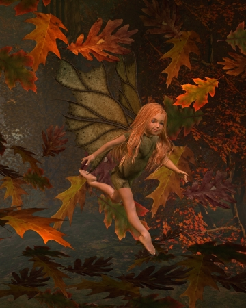 Illustration of a young fairy girl child with green leafy wings and costume in an Autumn  fall  woodland surrounded by swirling leaves, 3d digitally rendered illustration