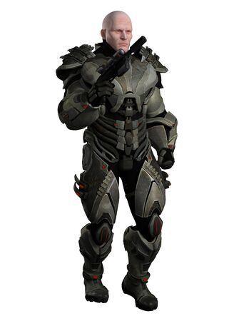 fantasy fiction: Illustration of a large muscular marine in futuristic body armour, 3d digitally rendered illustration