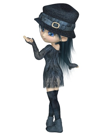 toon: Cute toon girl wearing a blue hat, dress and stockings, turning round, 3d digitally rendered illustration Stock Photo