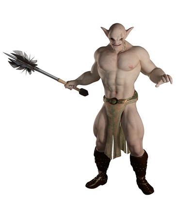 Goblin warrior carrying a mace, 3d digitally rendered illustration
