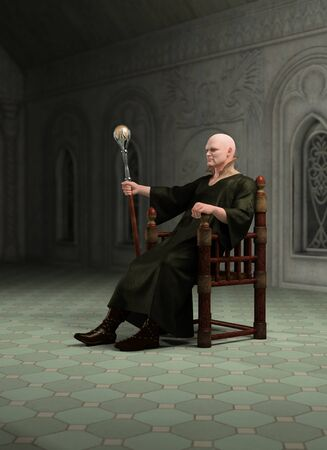 enthroned: Illustration of a Warlock with magic staff seated on his throne in his great hall, 3d digitally rendered illustration