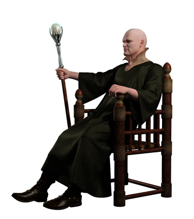 enthroned: Illustration of a Warlock with magic staff seated on his throne, 3d digitally rendered illustration
