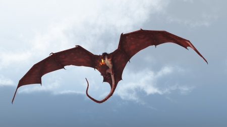 flying dragon: Red fire breathing dragon flying in to attack from a cloudy sky, 3d digitally rendered illustration Stock Photo