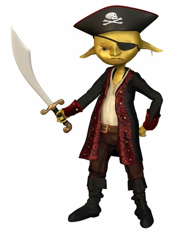 imp: Green-skinned goblin pirate captain with hat and eye patch, 3d digitally rendered illustration