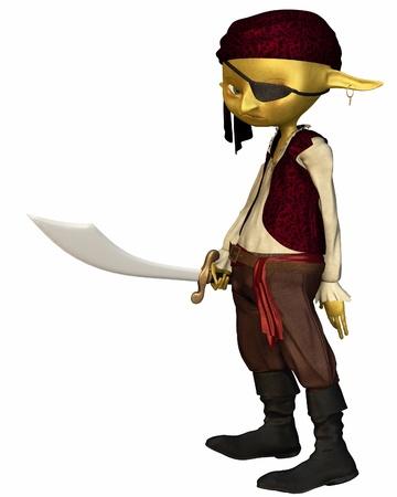 goblin: Green-skinned goblin pirate with eye patch, 3d digitally rendered illustration