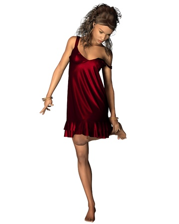 dark haired woman: Illustration of a dark haired Latin woman in a red dress holding her ankle, 3d digitally rendered illustration