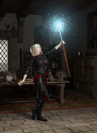 Illustration of a female magic user in her laboratory holding a glowing staff, 3d digitally rendered illustration illustration