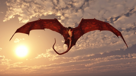 dragon fire: Red fire breathing dragon flying in to attack from a cloudy sunset sky, 3d digitally rendered illustration